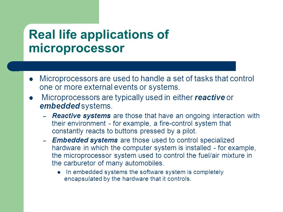 Real life applications of microprocessor