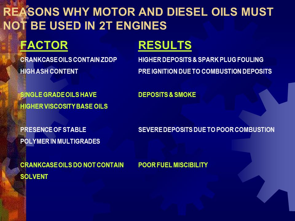 REASONS WHY MOTOR AND DIESEL OILS MUST NOT BE USED IN 2T ENGINES