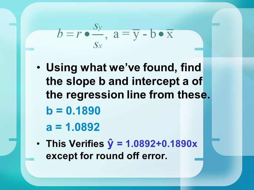 Using what we've found, find the slope b and intercept a of the regression line from these.