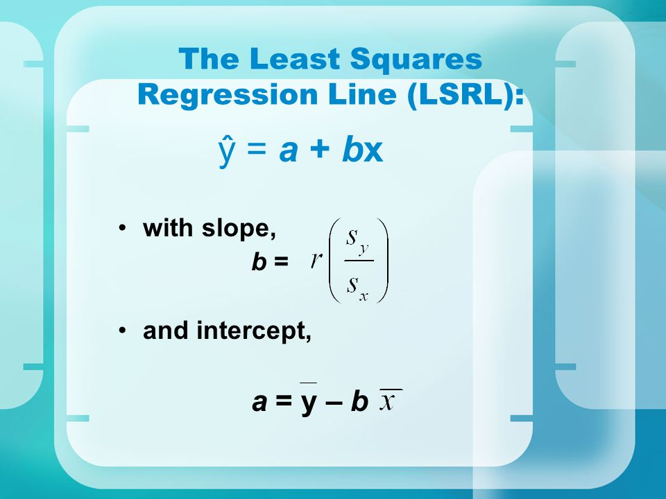 The Least Squares Regression Line (LSRL):