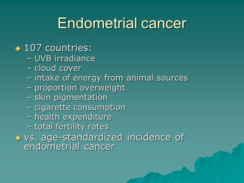 Endometrial cancer 107 countries: