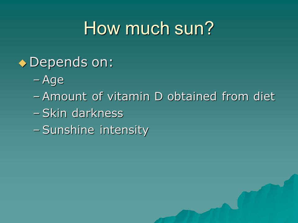 How much sun Depends on: Age Amount of vitamin D obtained from diet