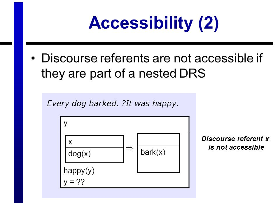 Discourse referent x is not accessible