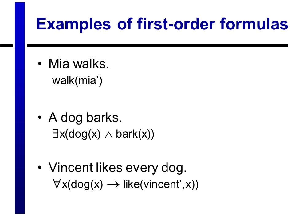 Examples of first-order formulas