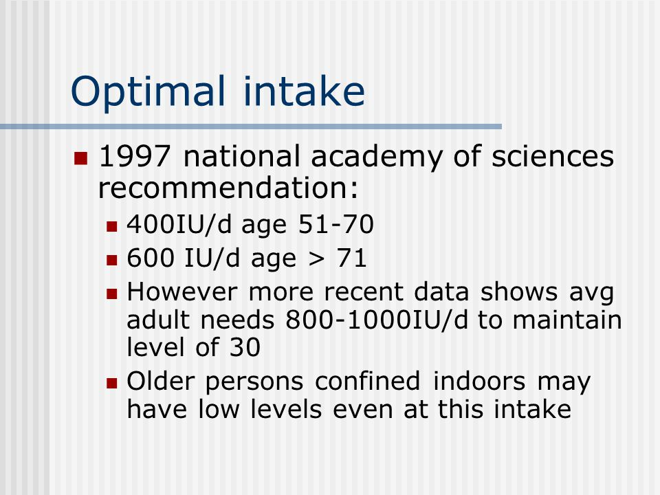 Optimal intake 1997 national academy of sciences recommendation: