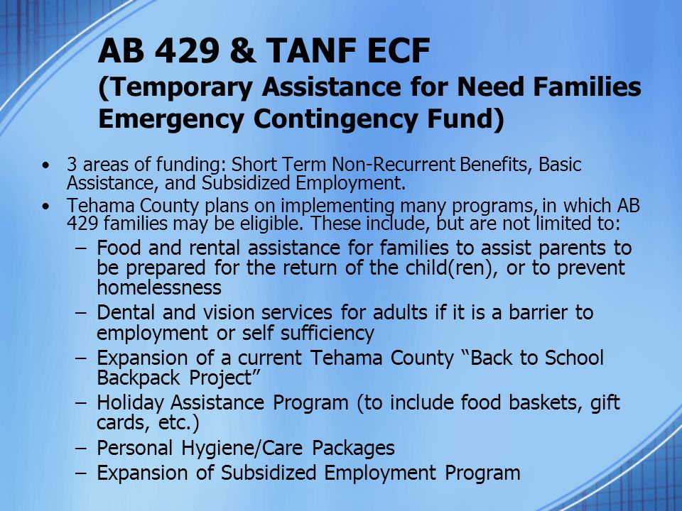 AB 429 & TANF ECF (Temporary Assistance for Need Families Emergency Contingency Fund)