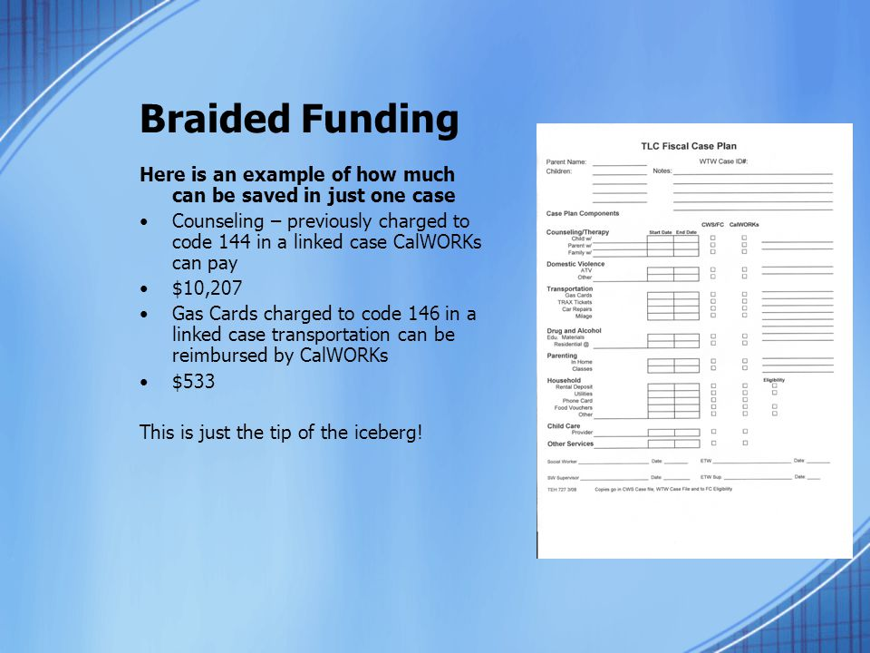 Braided Funding Here is an example of how much can be saved in just one case.
