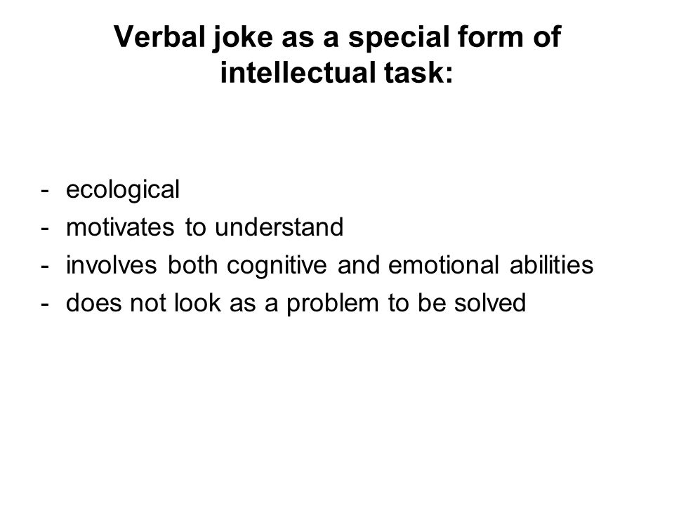 Verbal joke as a special form of intellectual task: