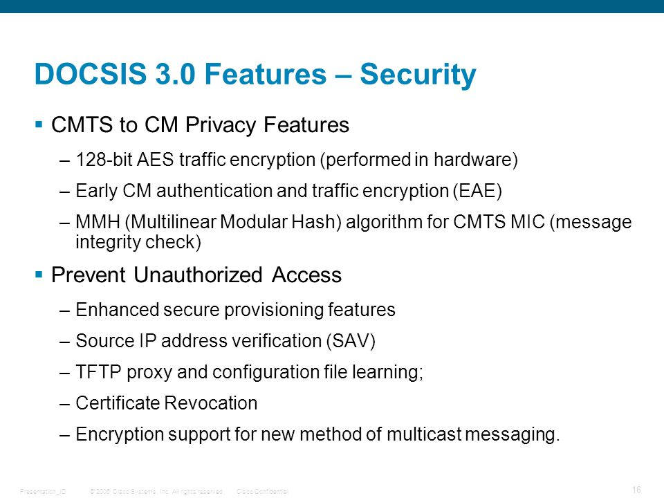 DOCSIS 3.0 Features – Security