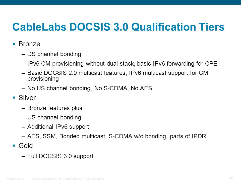 CableLabs DOCSIS 3.0 Qualification Tiers