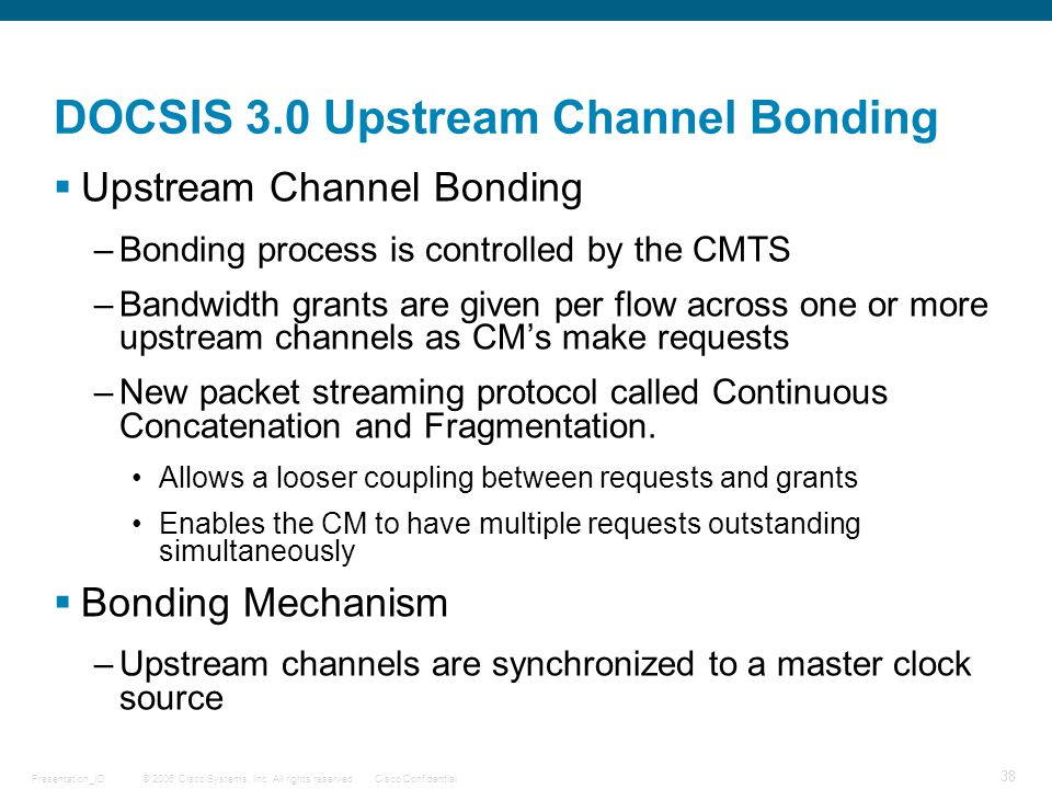 DOCSIS 3.0 Upstream Channel Bonding
