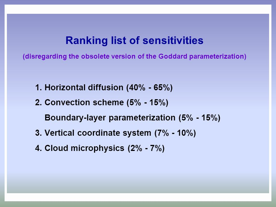 Ranking list of sensitivities (disregarding the obsolete version of the Goddard parameterization)