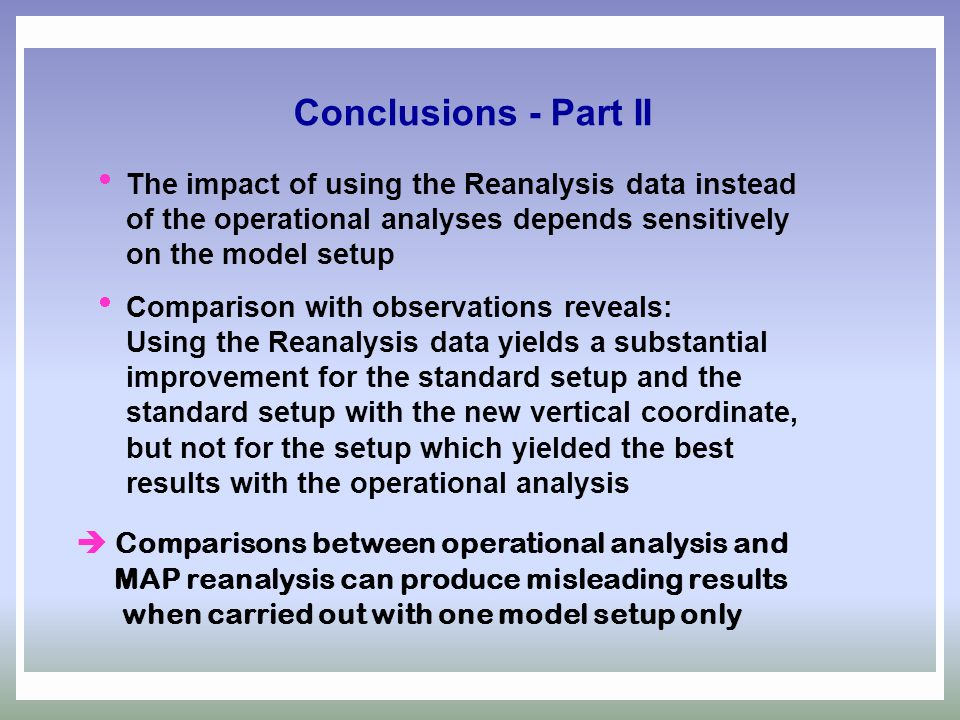  Comparisons between operational analysis and