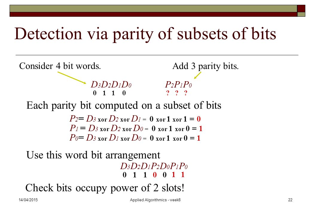 Detection via parity of subsets of bits