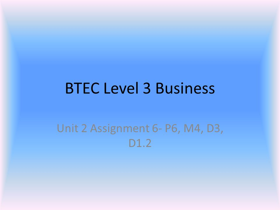 BTEC Level 3 Business Unit 2 Assignment 6- P6, M4, D3, D1.2