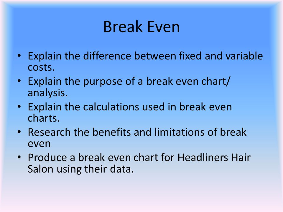 Break Even Explain the difference between fixed and variable costs.