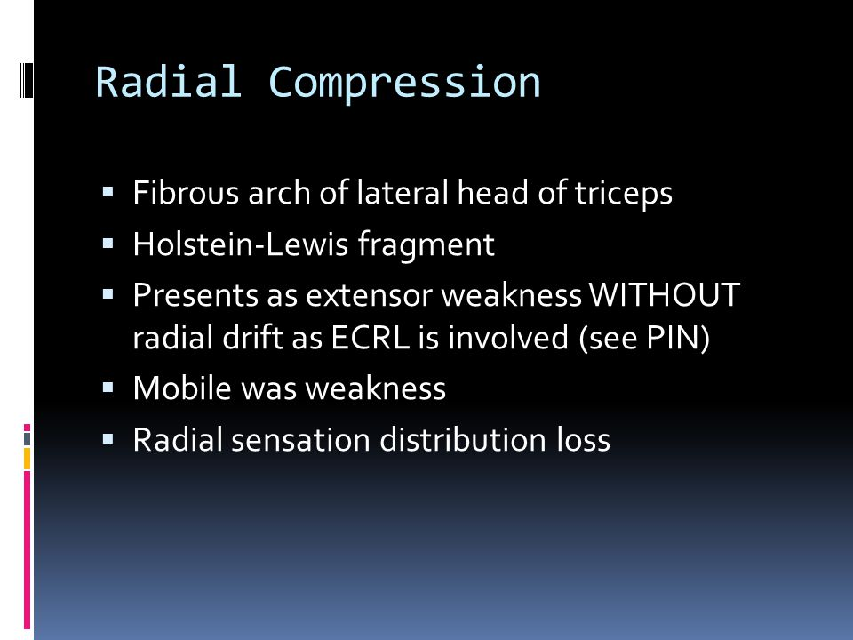 Radial Compression Fibrous arch of lateral head of triceps