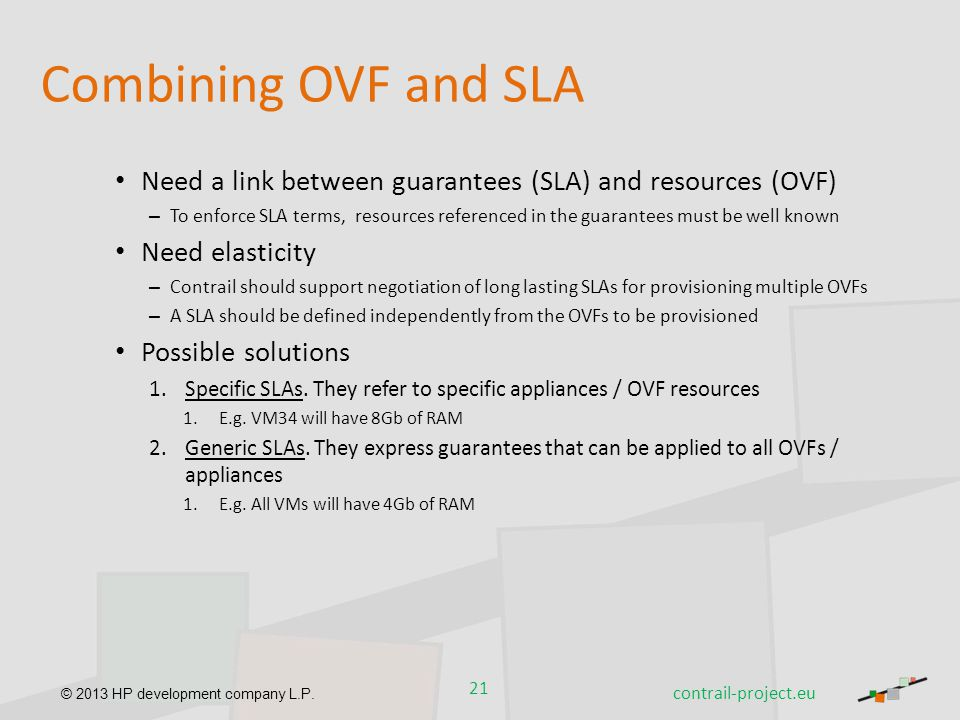 Combining OVF and SLA Need a link between guarantees (SLA) and resources (OVF)