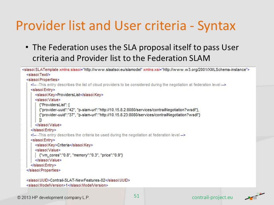 Provider list and User criteria - Syntax