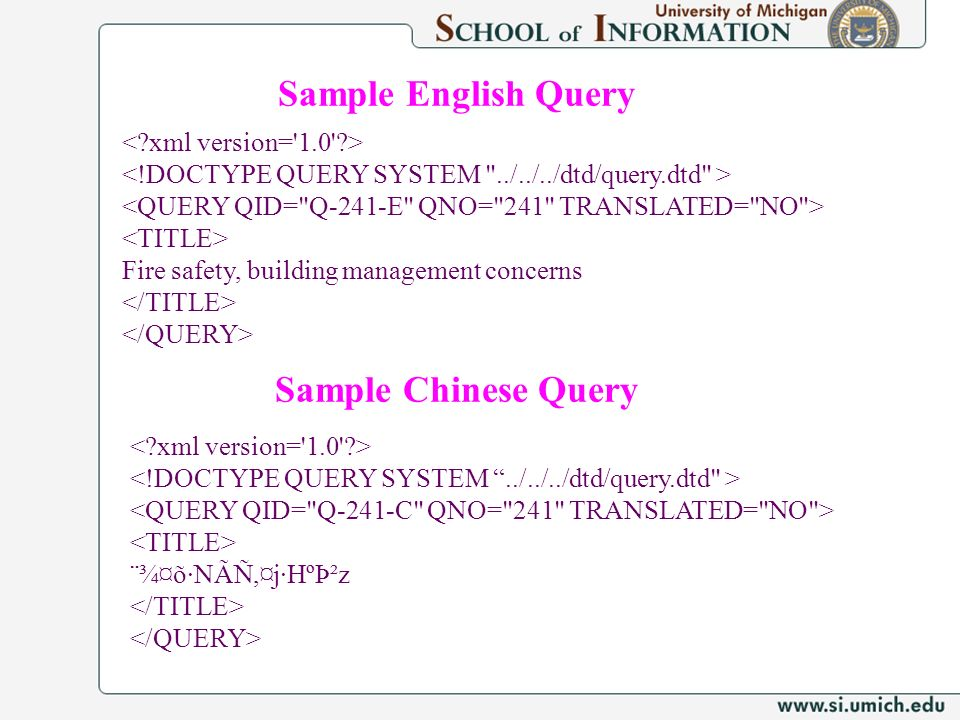 Sample English Query Sample Chinese Query