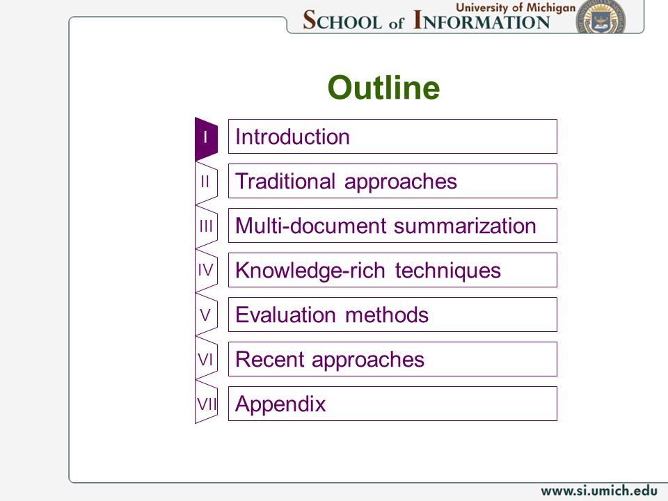 Outline Introduction Traditional approaches