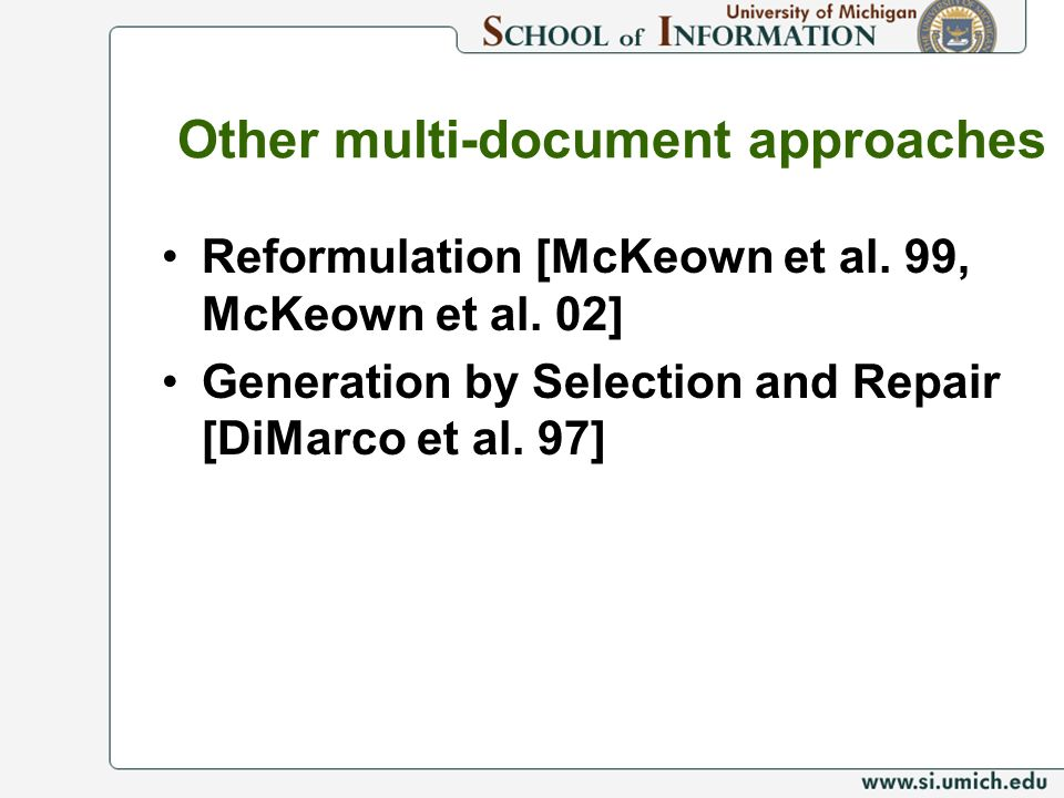Other multi-document approaches