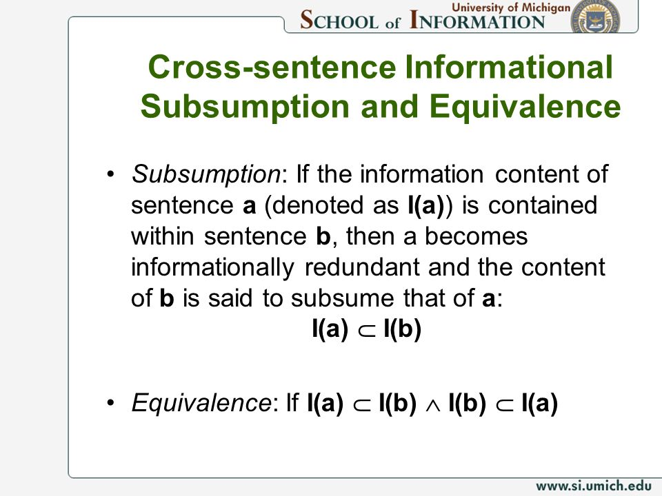 Cross-sentence Informational Subsumption and Equivalence