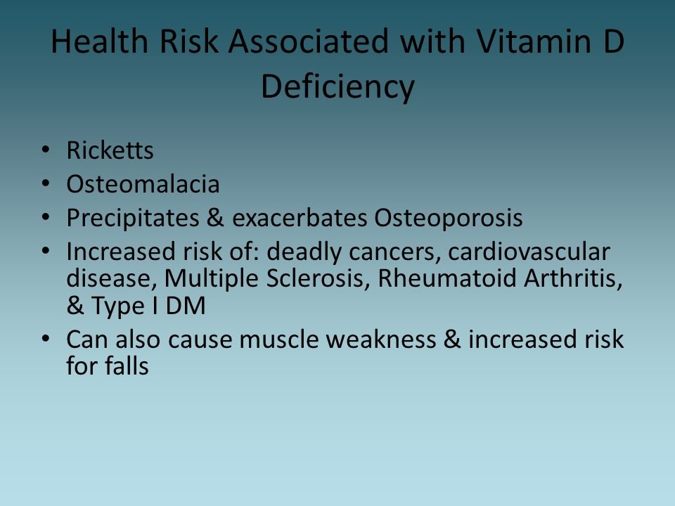 Health Risk Associated with Vitamin D Deficiency