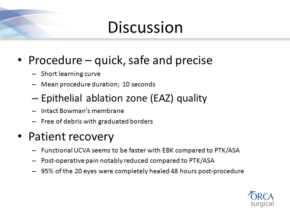 Discussion Procedure – quick, safe and precise Patient recovery