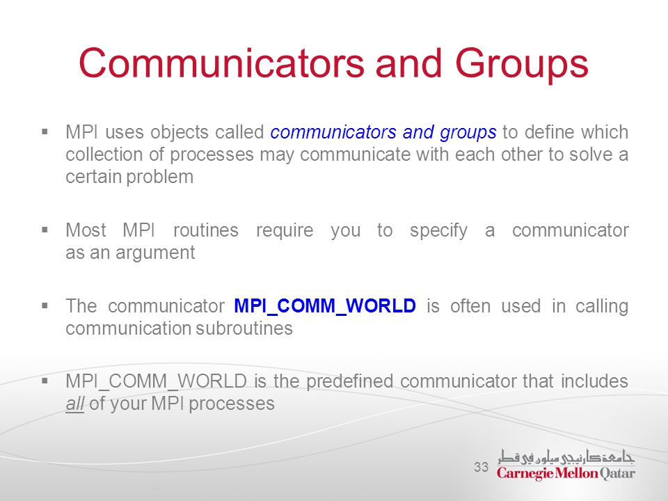 Communicators and Groups