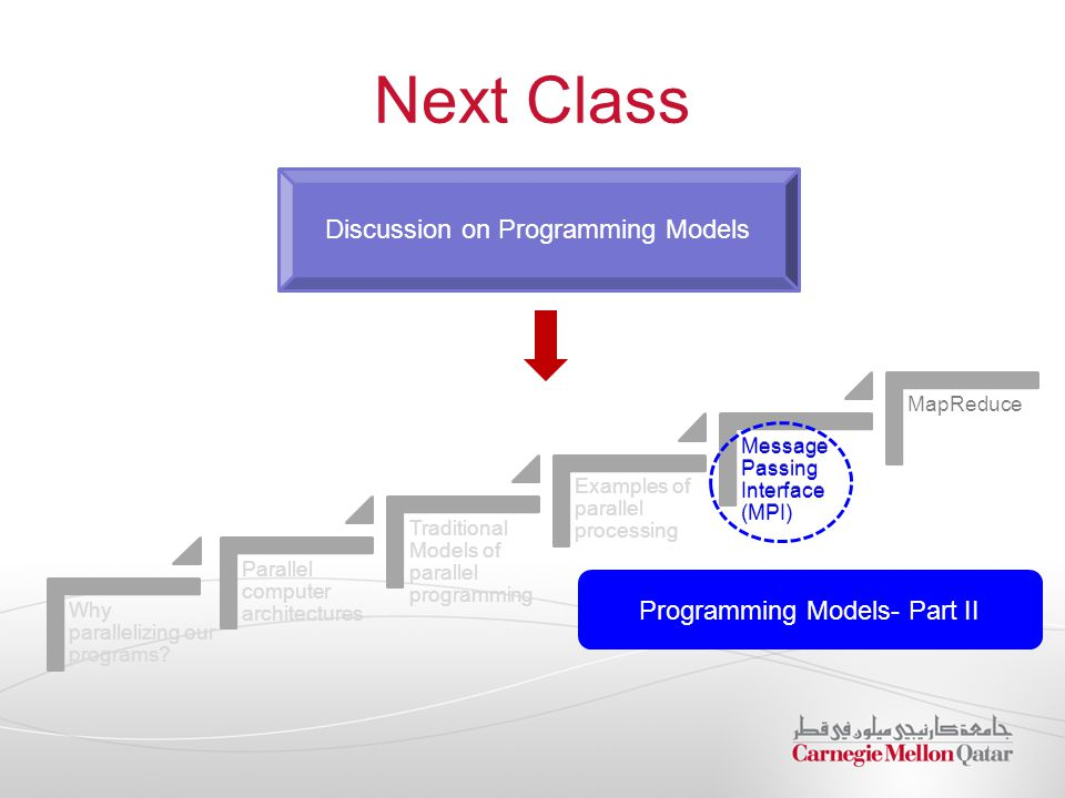 Next Class Discussion on Programming Models