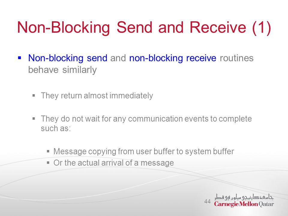 Non-Blocking Send and Receive (1)