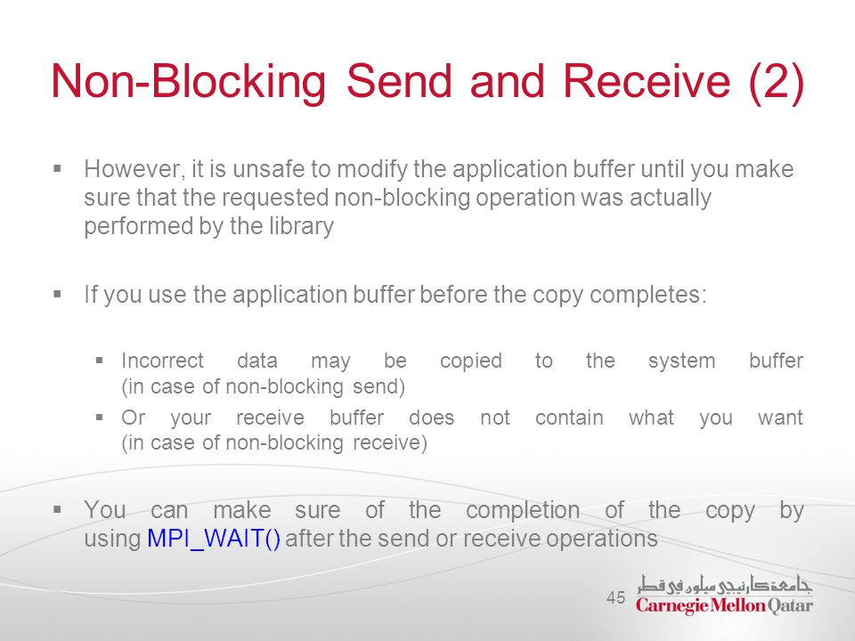 Non-Blocking Send and Receive (2)