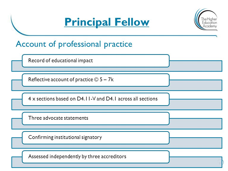 Principal Fellow Account of professional practice. Record of educational impact. Reflective account of practice © 5 – 7k.