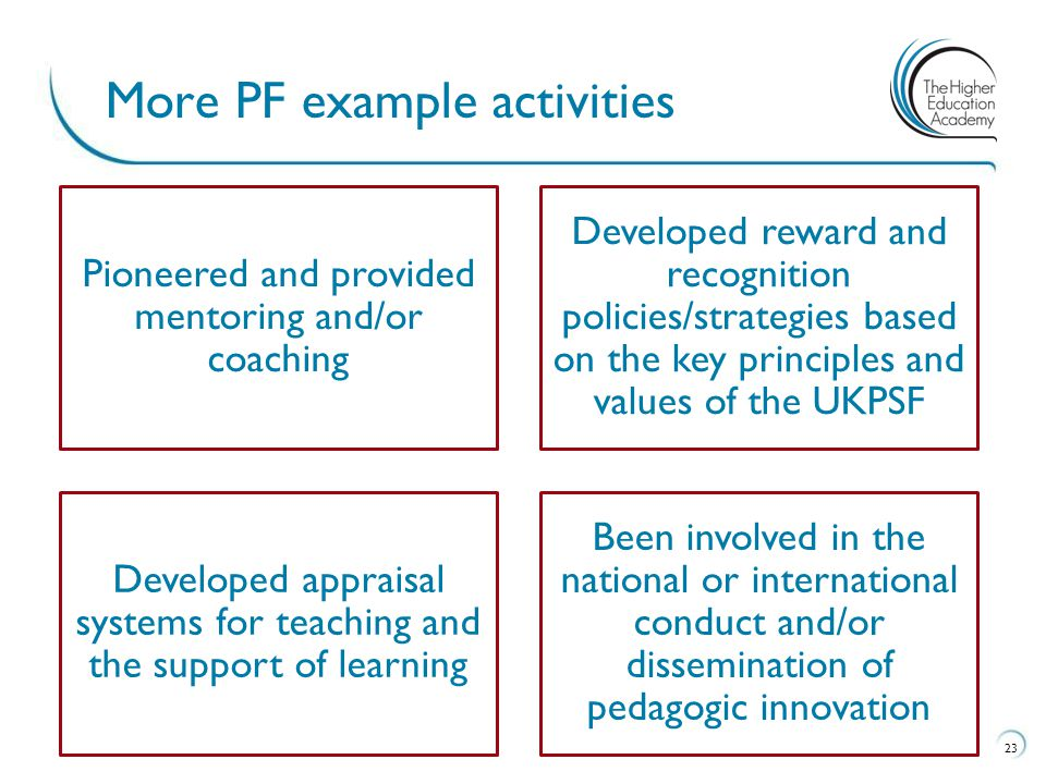 More PF example activities