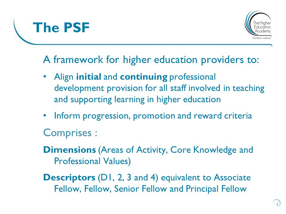 The PSF A framework for higher education providers to: Comprises :