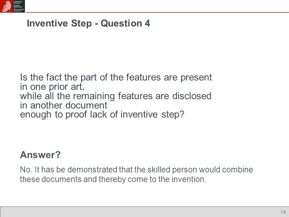 Inventive Step - Question 4