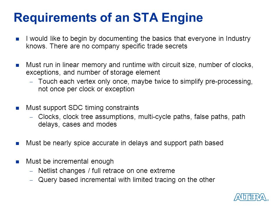 Requirements of an STA Engine