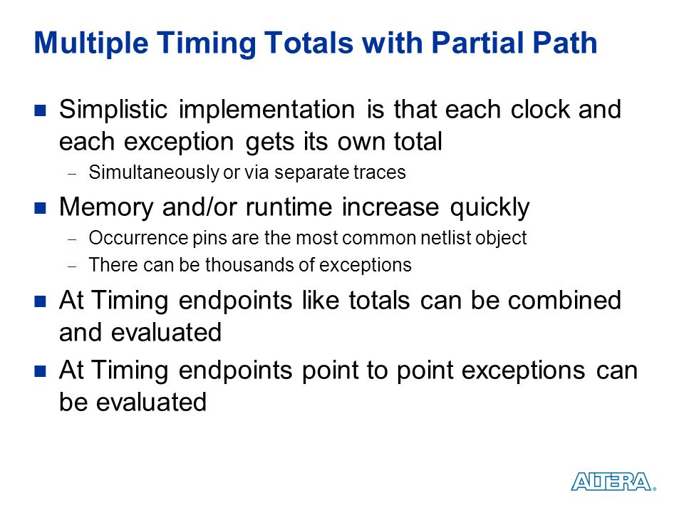 Multiple Timing Totals with Partial Path