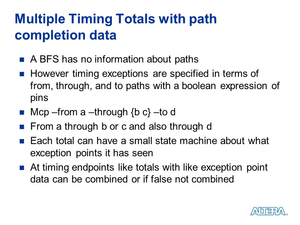 Multiple Timing Totals with path completion data