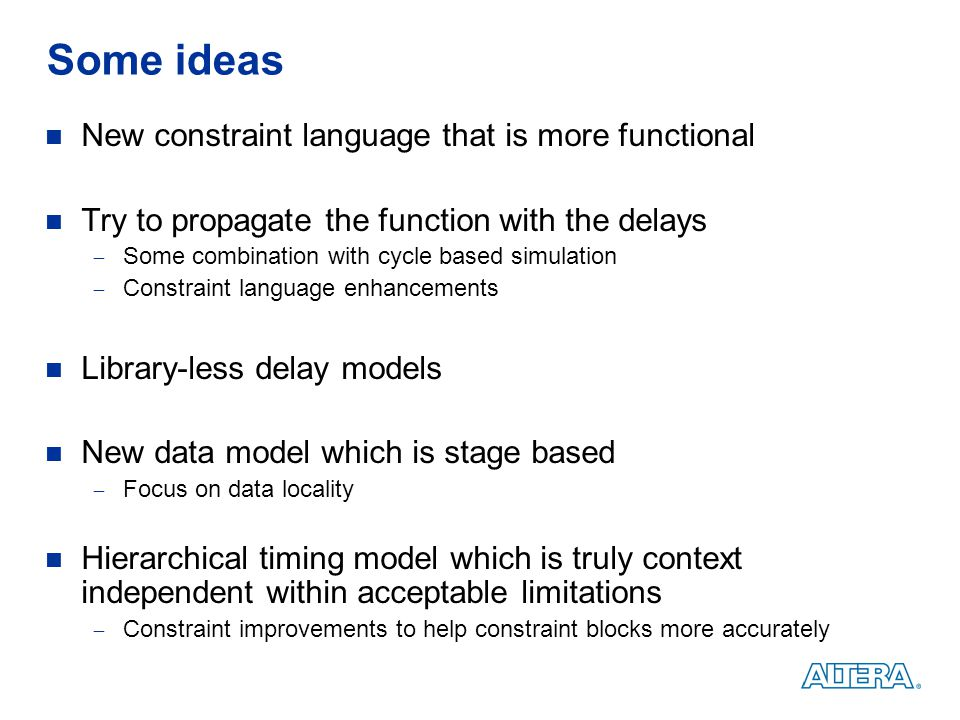 Some ideas New constraint language that is more functional