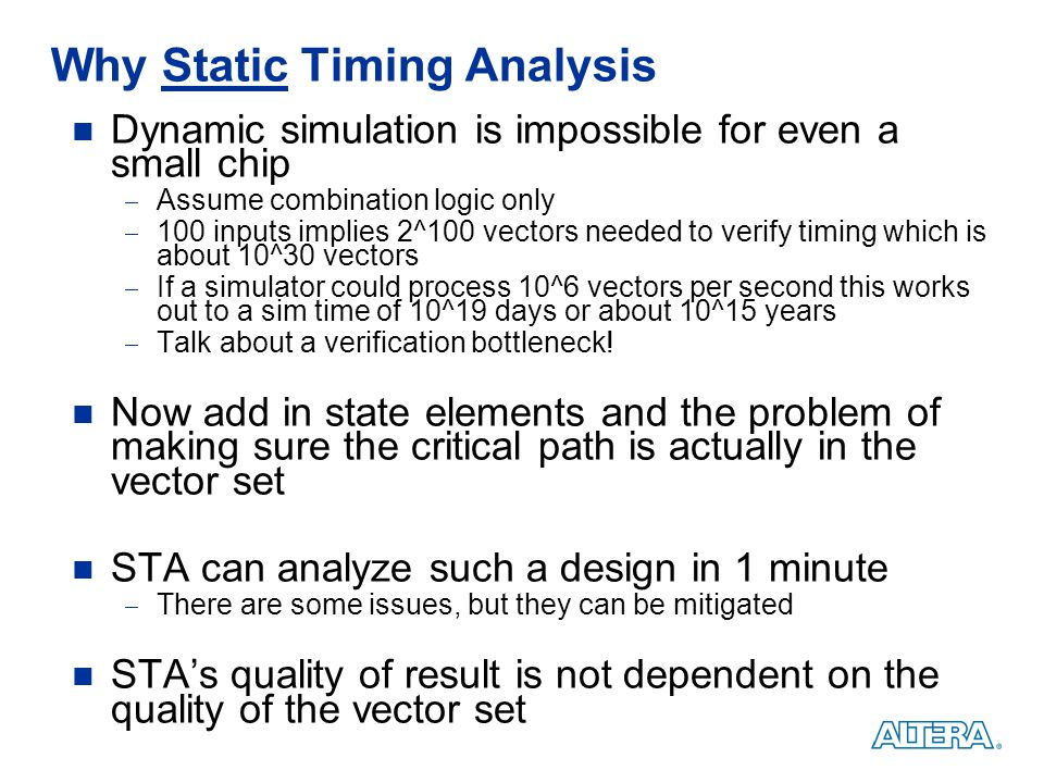 Why Static Timing Analysis