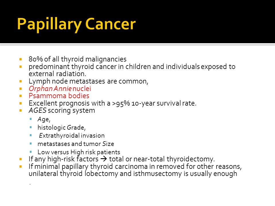 Papillary Cancer 80% of all thyroid malignancies