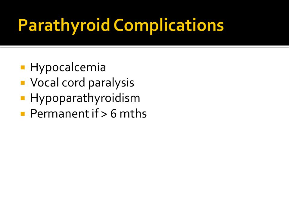 Parathyroid Complications