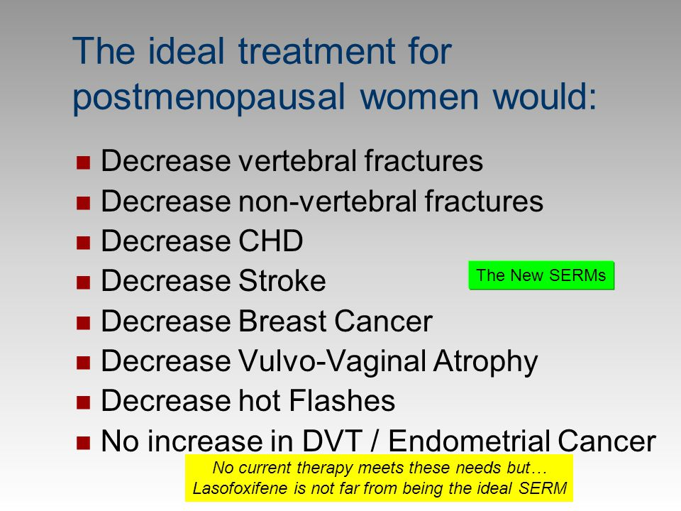 The ideal treatment for postmenopausal women would: