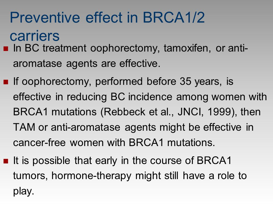 Preventive effect in BRCA1/2 carriers