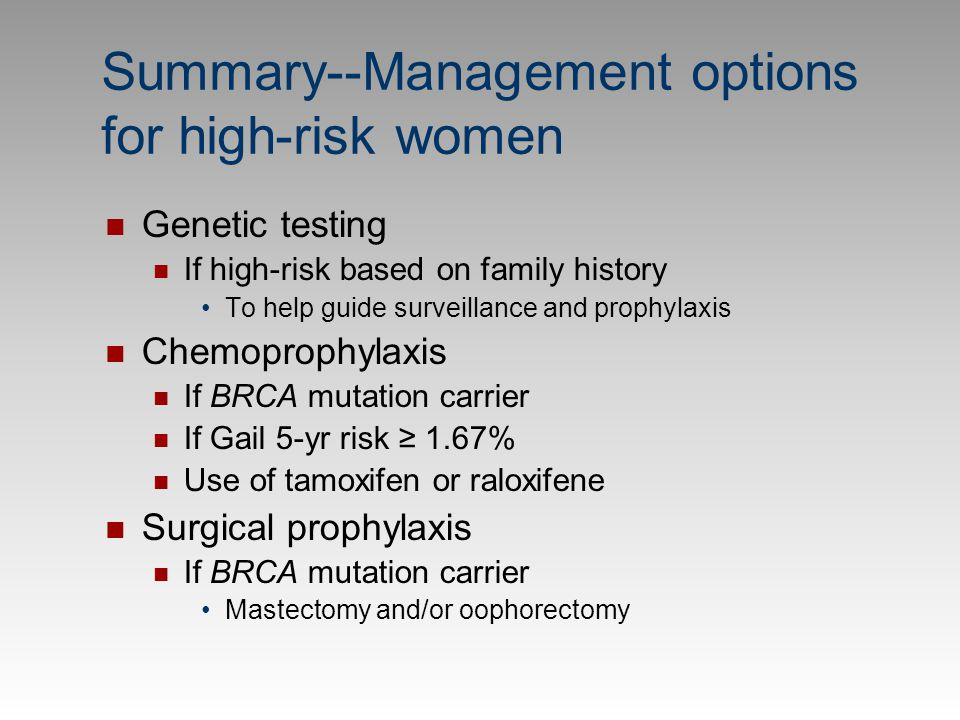 Summary--Management options for high-risk women