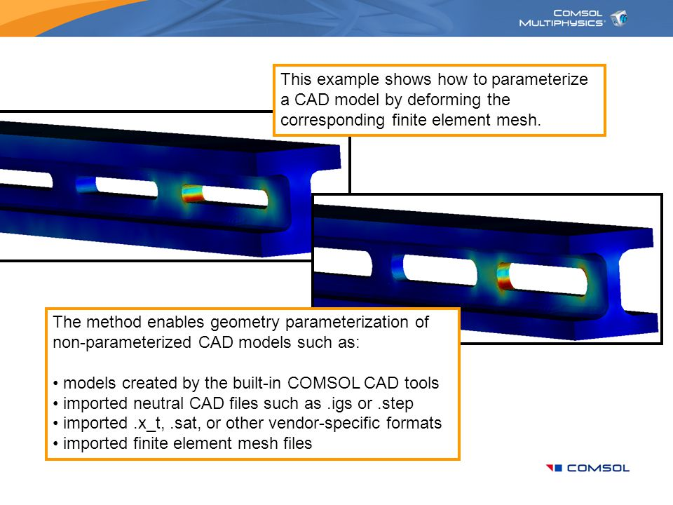 This example shows how to parameterize a CAD model by deforming the corresponding finite element mesh.