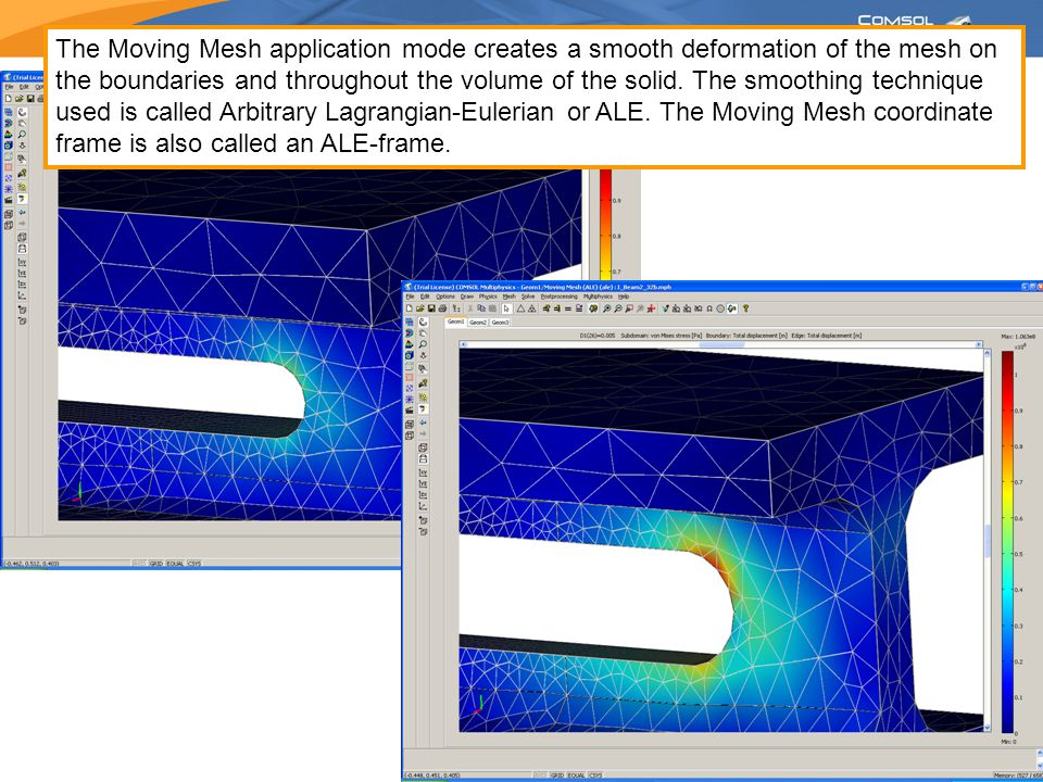 The Moving Mesh application mode creates a smooth deformation of the mesh on the boundaries and throughout the volume of the solid.