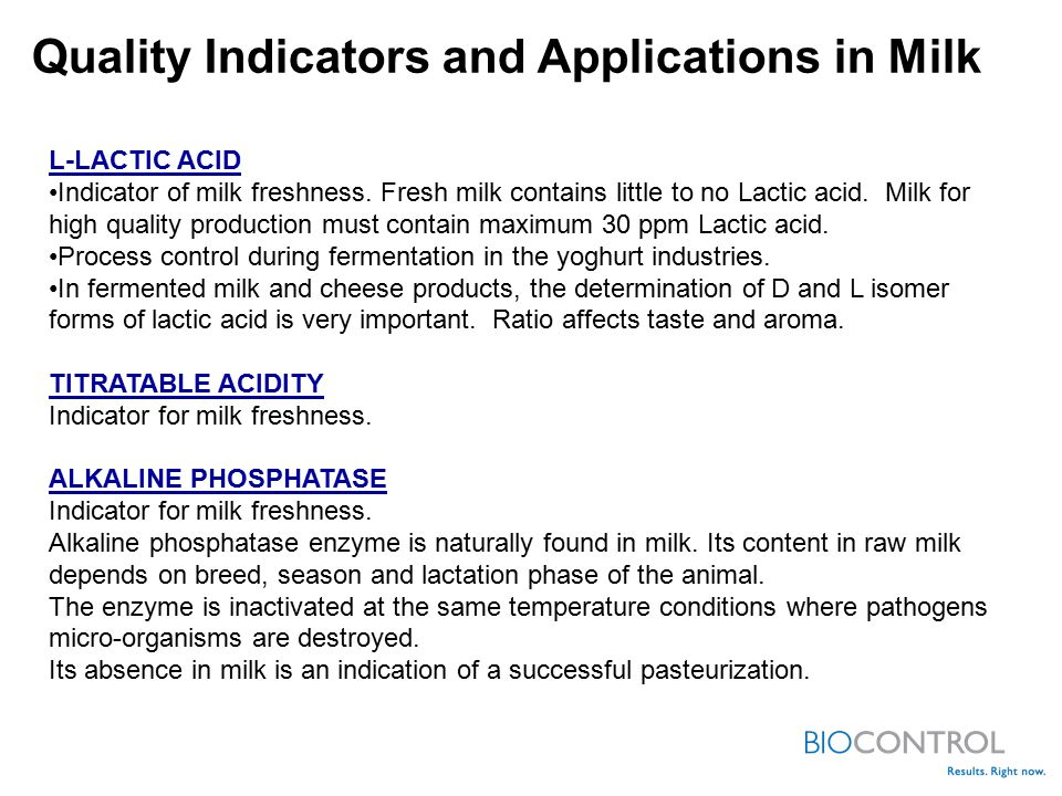 Quality Indicators and Applications in Milk